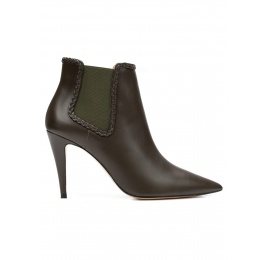 High heel ankle boots in military green leather Pura López