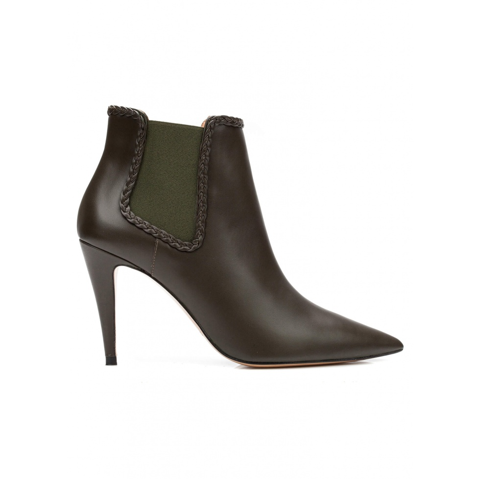 High heel ankle boots in military green leather