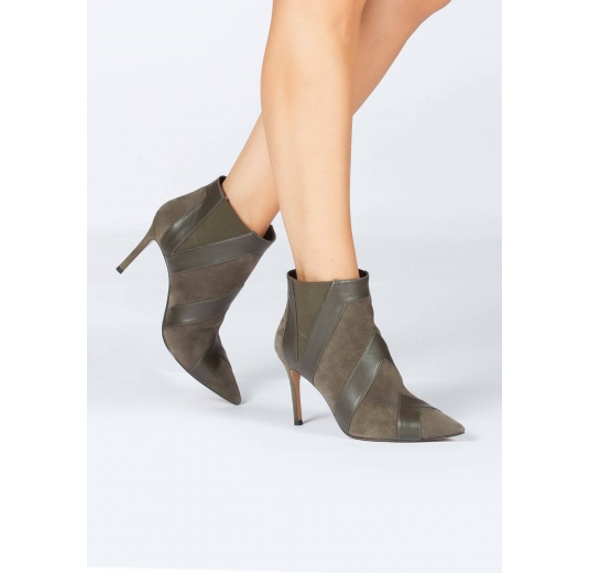 Khaki green high heel point-toe ankle boots Pura L�pez