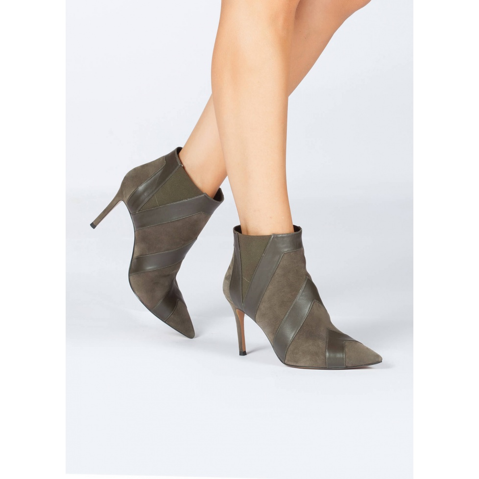 Khaki high heel point-toe ankle boots