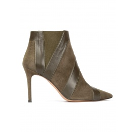 Khaki green high heel point-toe ankle boots Pura López