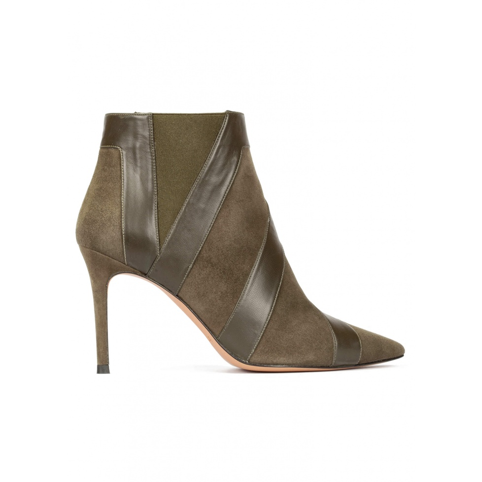 Khaki green high heel point-toe ankle boots