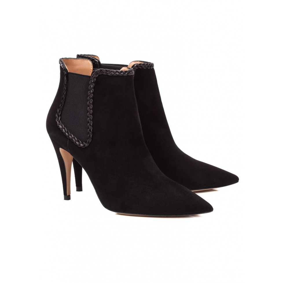 Black suede high heel ankle boots - online shoe store Pura Lopez