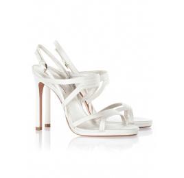 High heel bridal sandals in offwhite satin Pura López