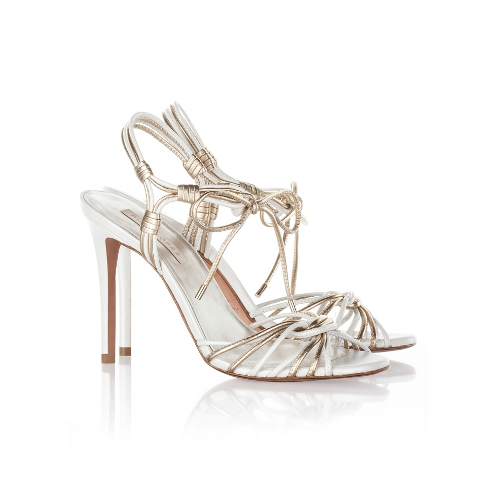 Pura Lopez bridal high heel sandals in offwhite and gold leather