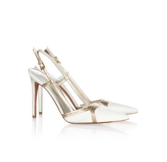 High heel bridal shoes in offwhite satin and gold leather Pura L�pez