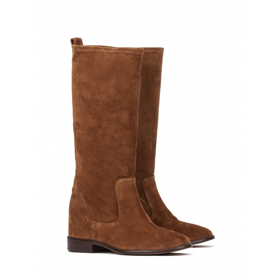 Concealed wedge boots in brown suede - online store Pura Lopez