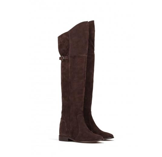 Over the knee boots in dark brown suede Pura L�pez