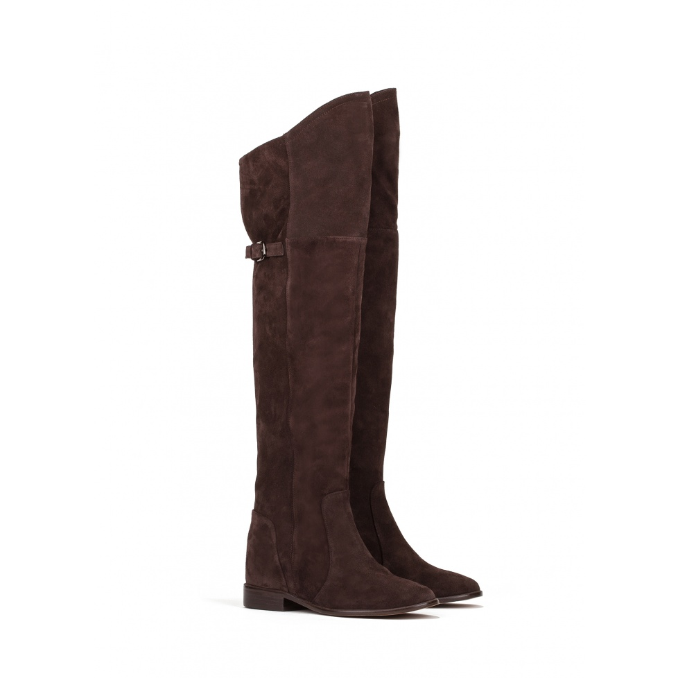 Concealed wedge boots in dark brown suede - online store Pura Lopez