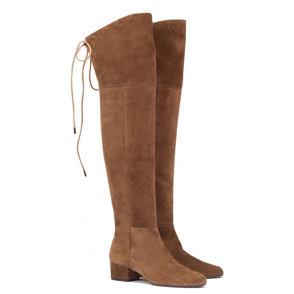Low heel boot in brown suede - online shoe store Pura Lopez