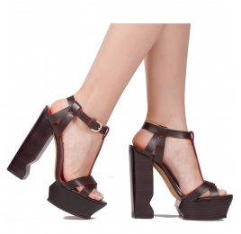 High platform block heel sandals in brown leather Pura López