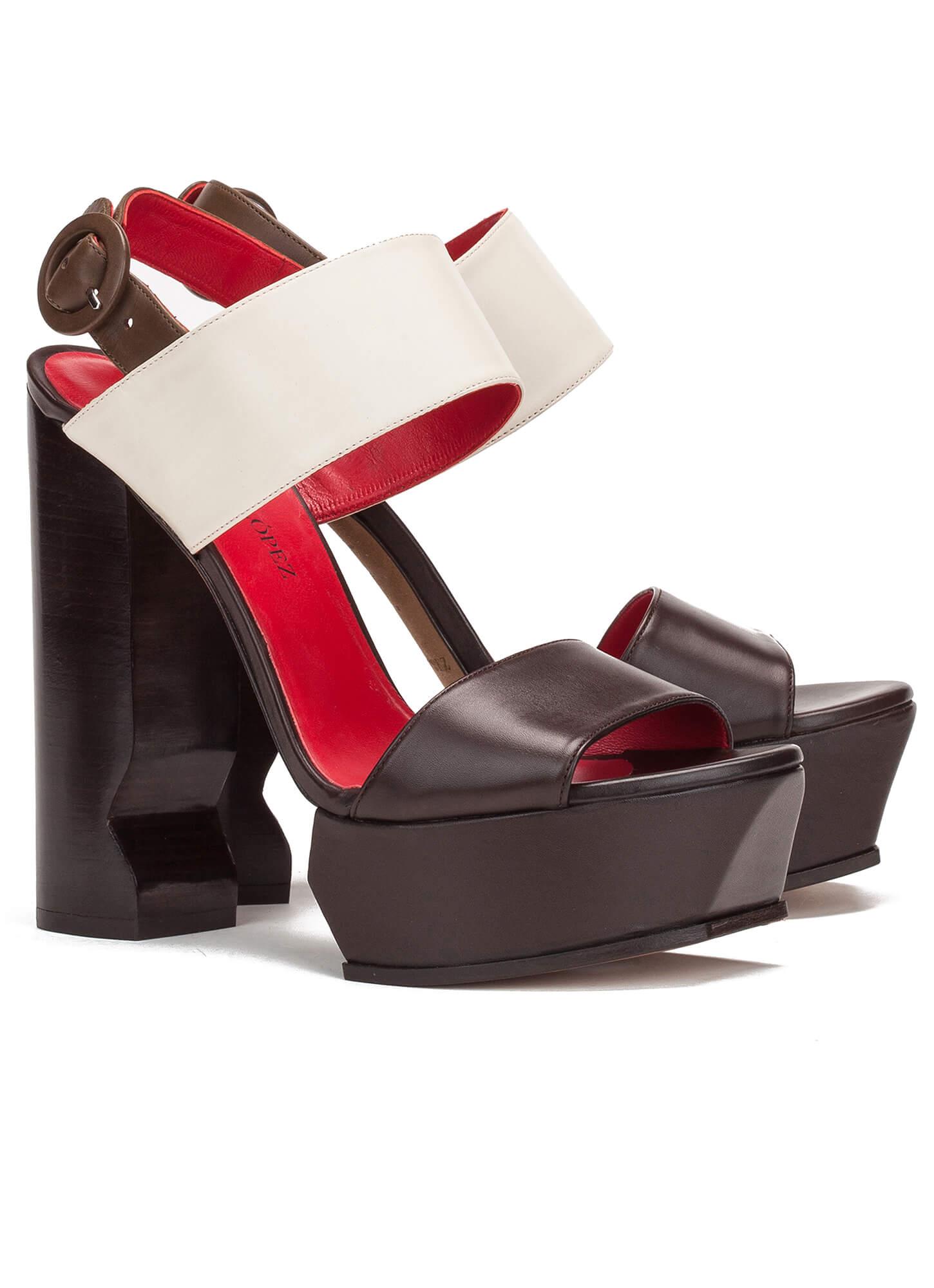 42beb84269a2 ... Brown and cream platform sandals - shoe store Pura López Karri Pura  López ...