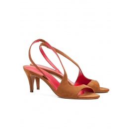 Strappy mid heel sandals in chestnut suede Pura López