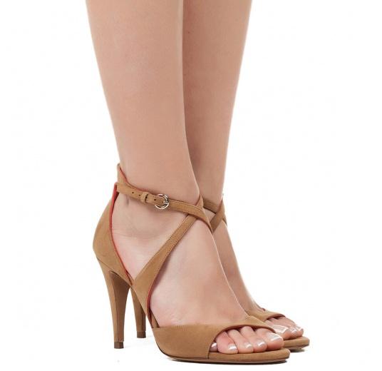 Strappy high heel sandals in hazelnut suede Pura L�pez