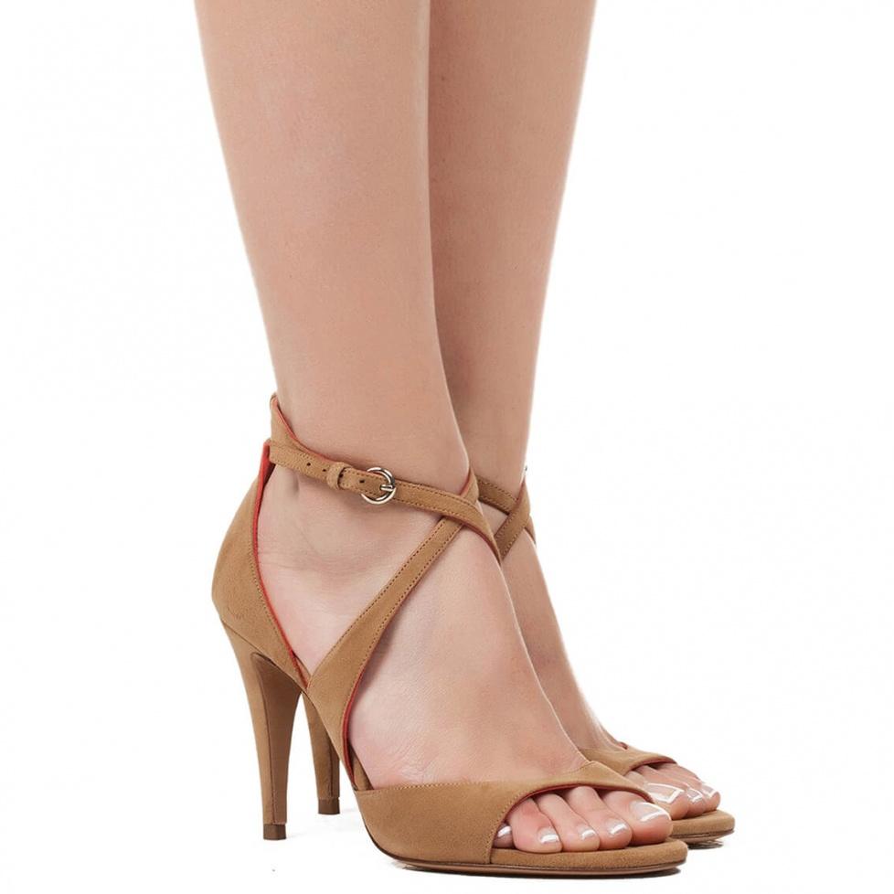 High heel sandals in hazelnut suede - online shoe store Pura Lopez