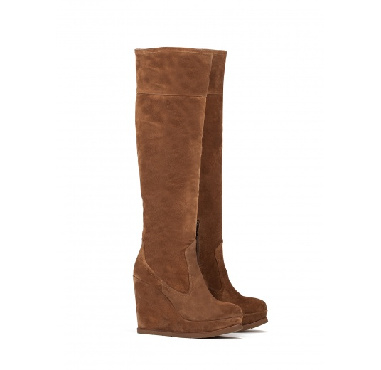 Wedge boots in brown suede Pura L�pez