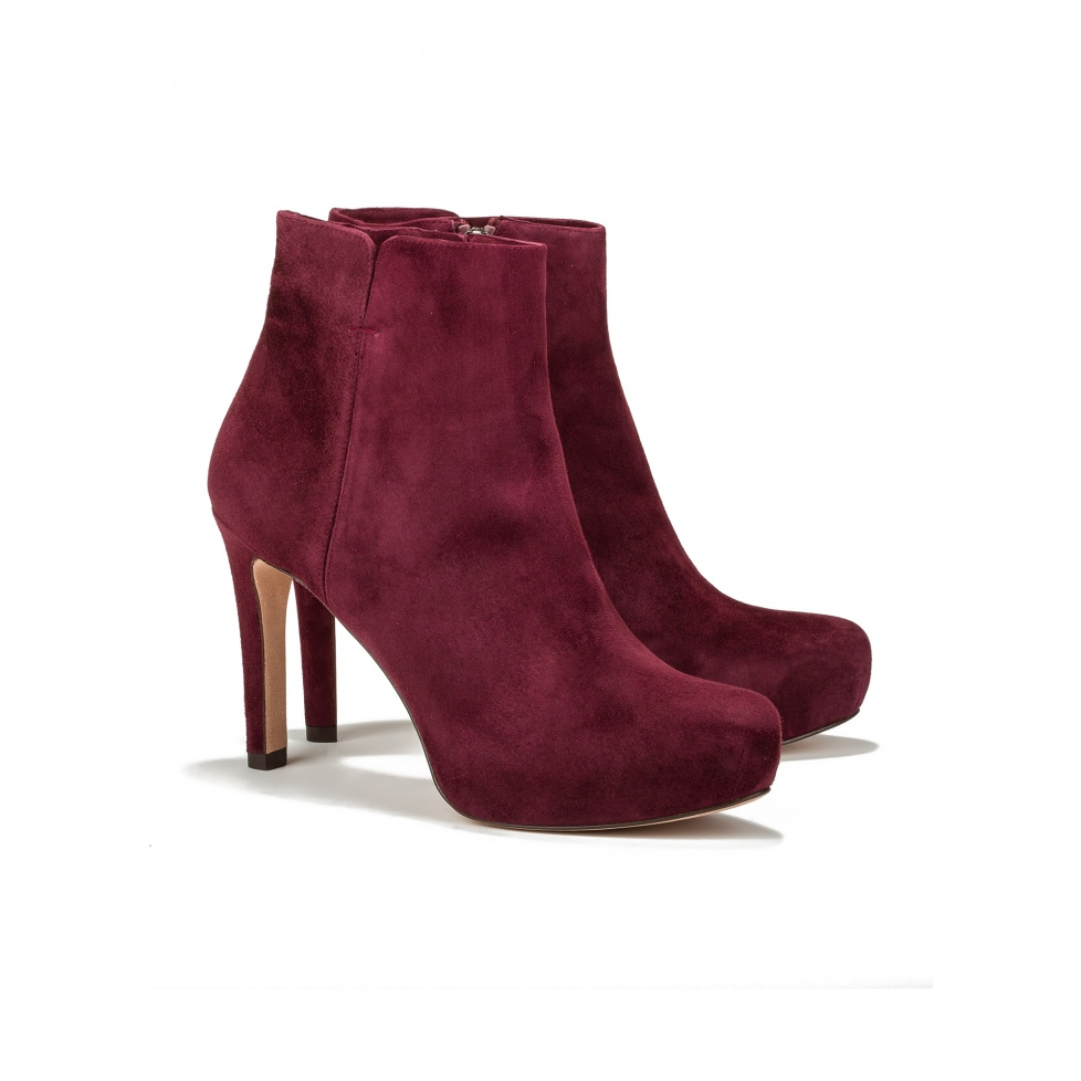Mid heel ankle boots in burgundy suede-online shoe store Pura Lopez