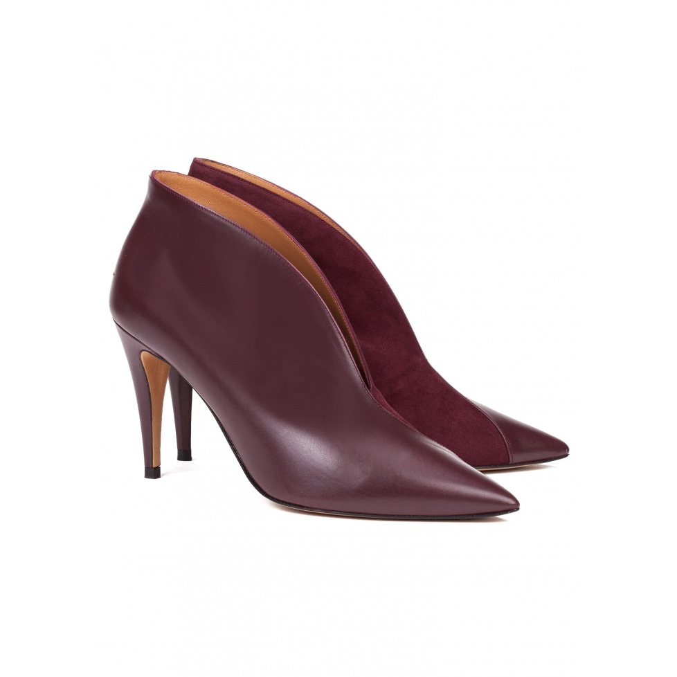 Aubergine leather heeled ankle boots - online shoe store Pura Lopez