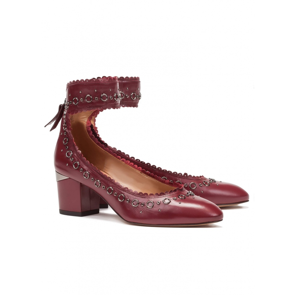 Mid heel shoes in burgundy leather - online shoe store Pura Lopez