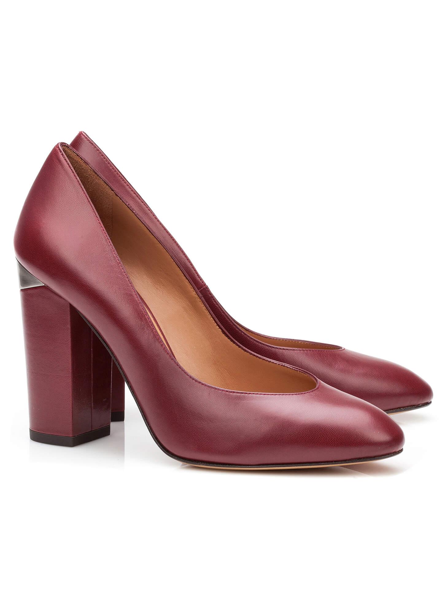 db8ff973e4 High heel pump in burgundy leather - online shoe store Pura Lopez ...