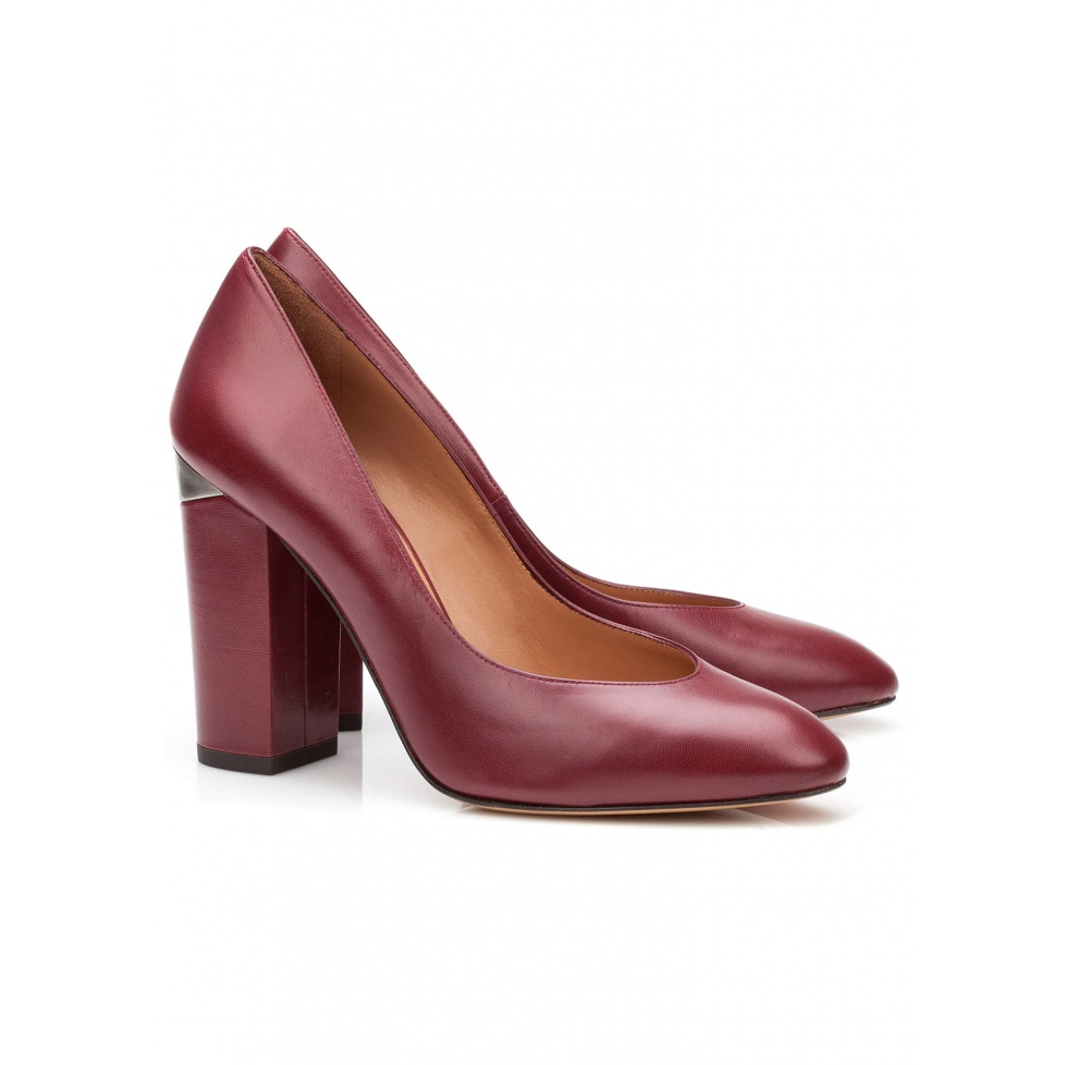 High heel pump in burgundy leather - online shoe store Pura Lopez