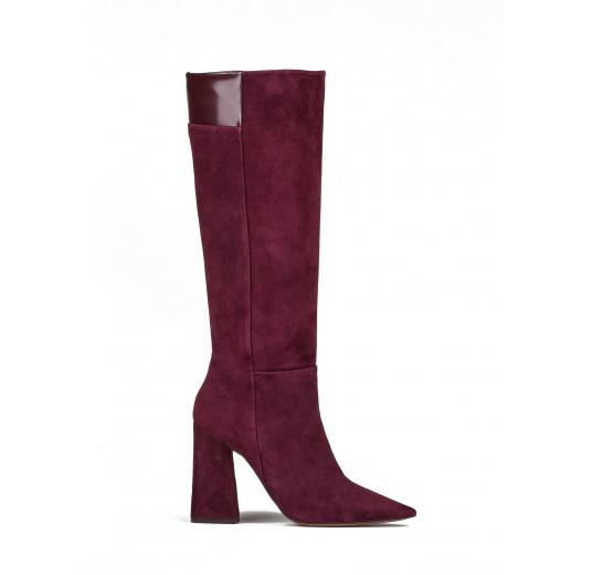 High heel boots in burgundy suede Pura L�pez