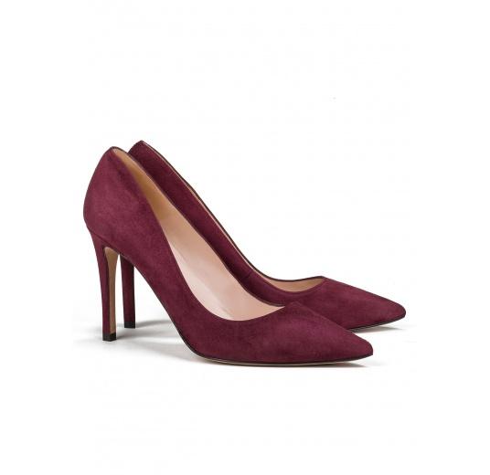 High heel pumps in burgundy suede Pura L�pez