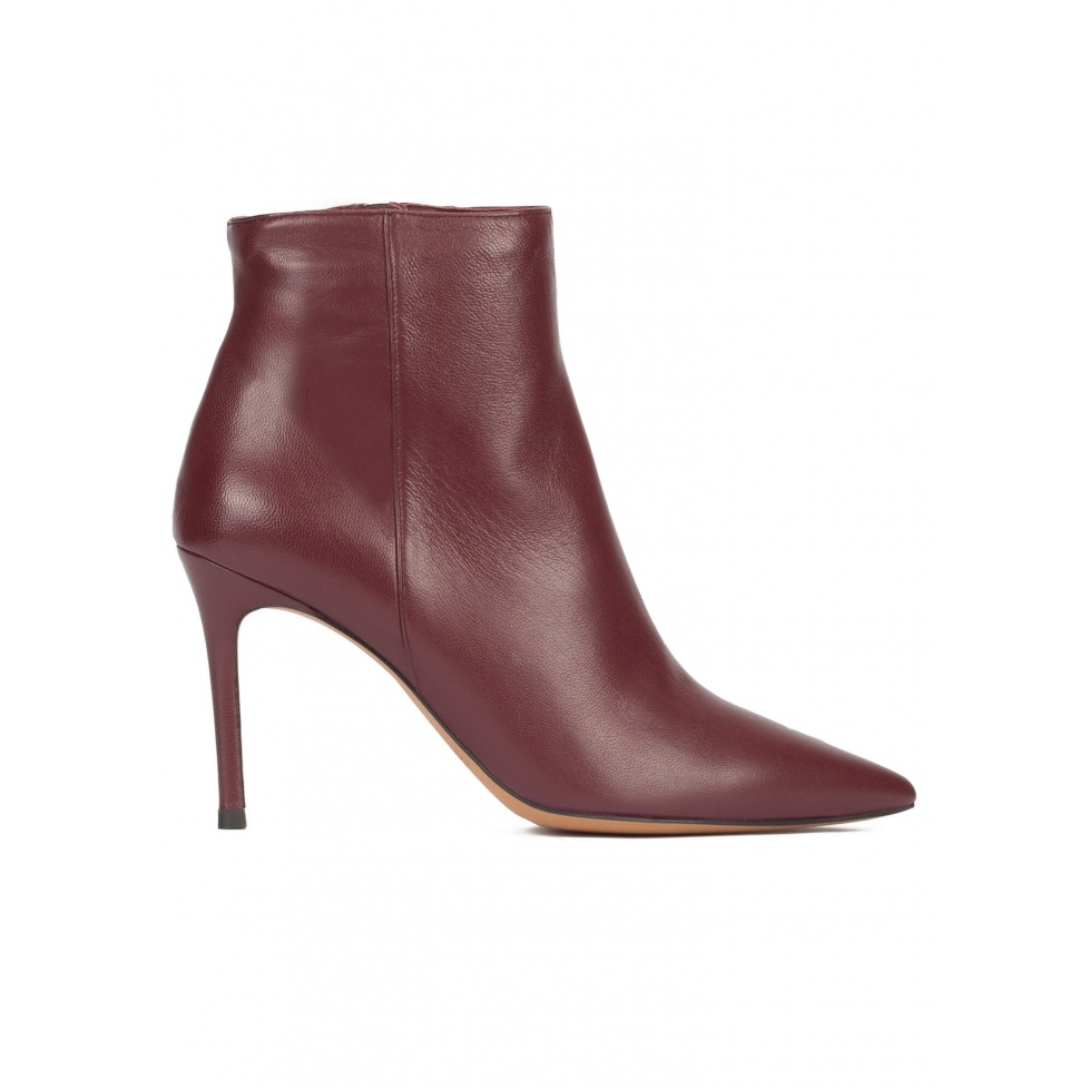 Burgundy leather heeled pointed toe ankle boots