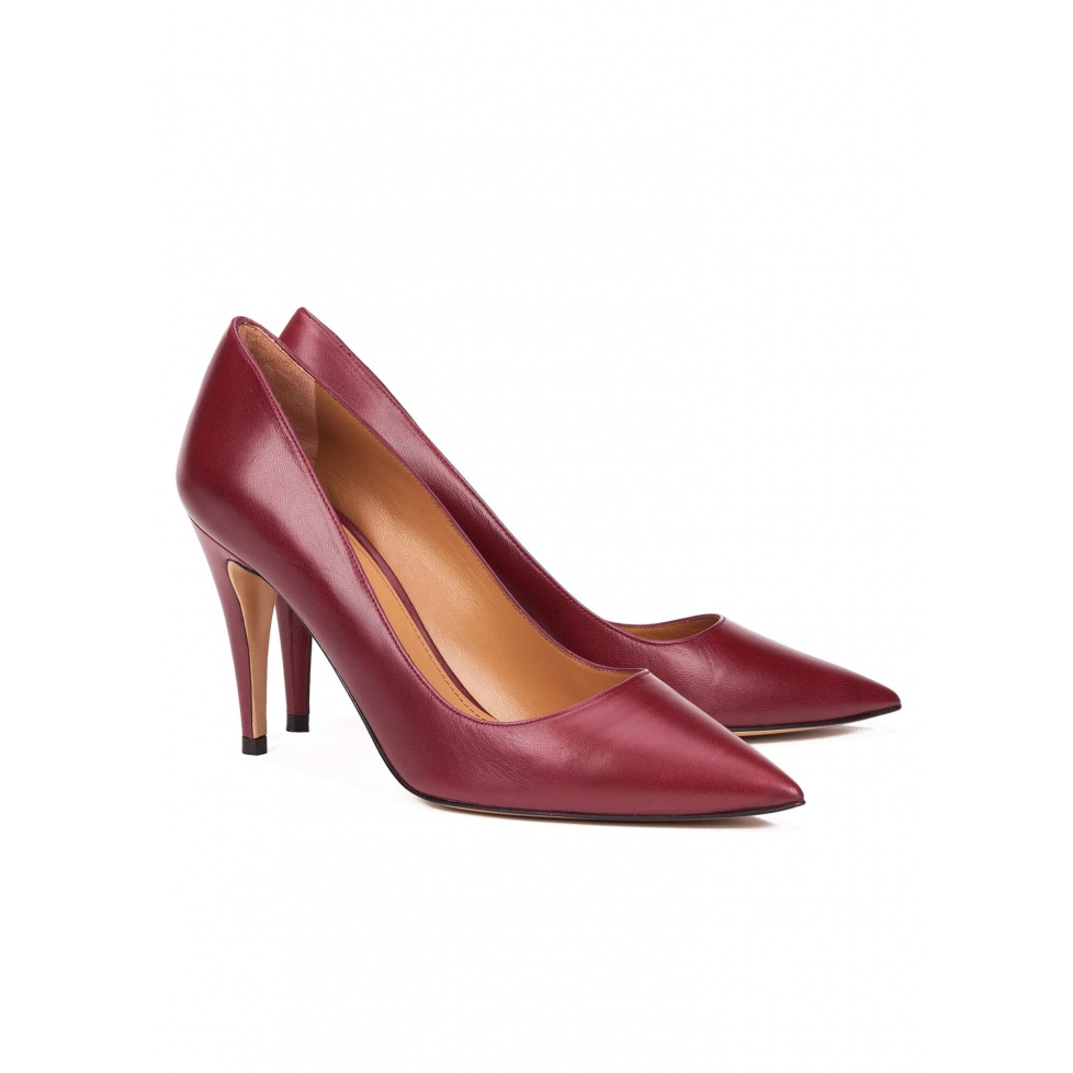 High heel pumps in burgundy leather - online shoe store Pura Lopez