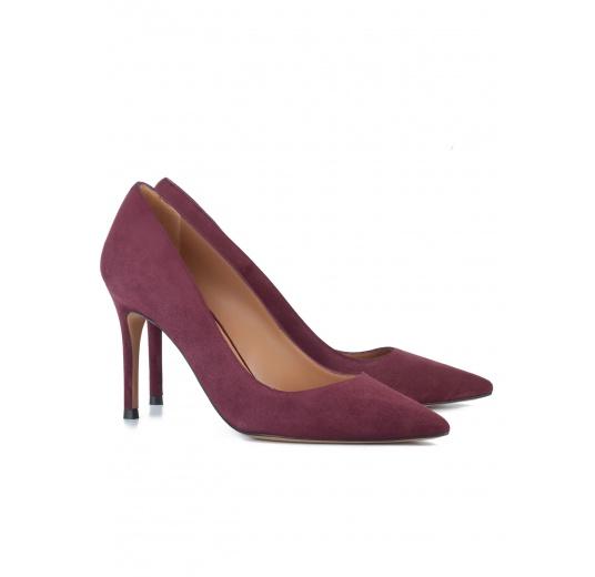 Aubergine suede classic heel pumps Pura L�pez