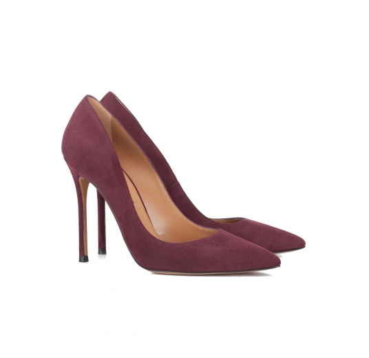 High heel pumps in burgundy suede Pura L�pez