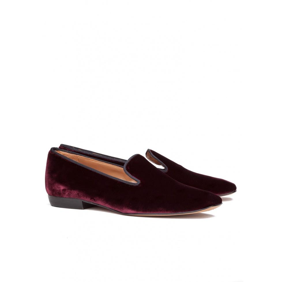 Burgundy velvet flat loafers - online shoe store Pura Lopez