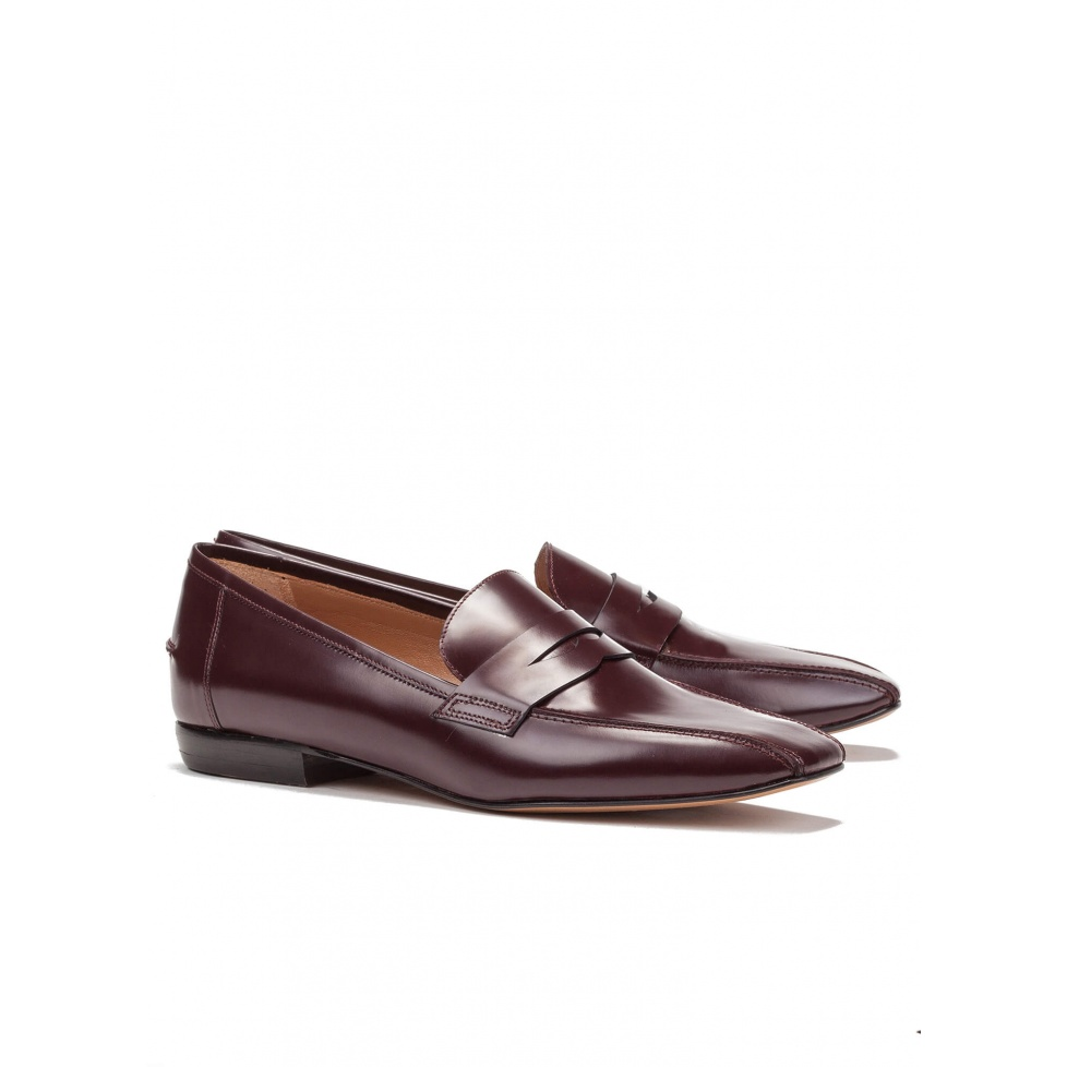 Burgundy leather flat loafers - online shoe store Pura Lopez