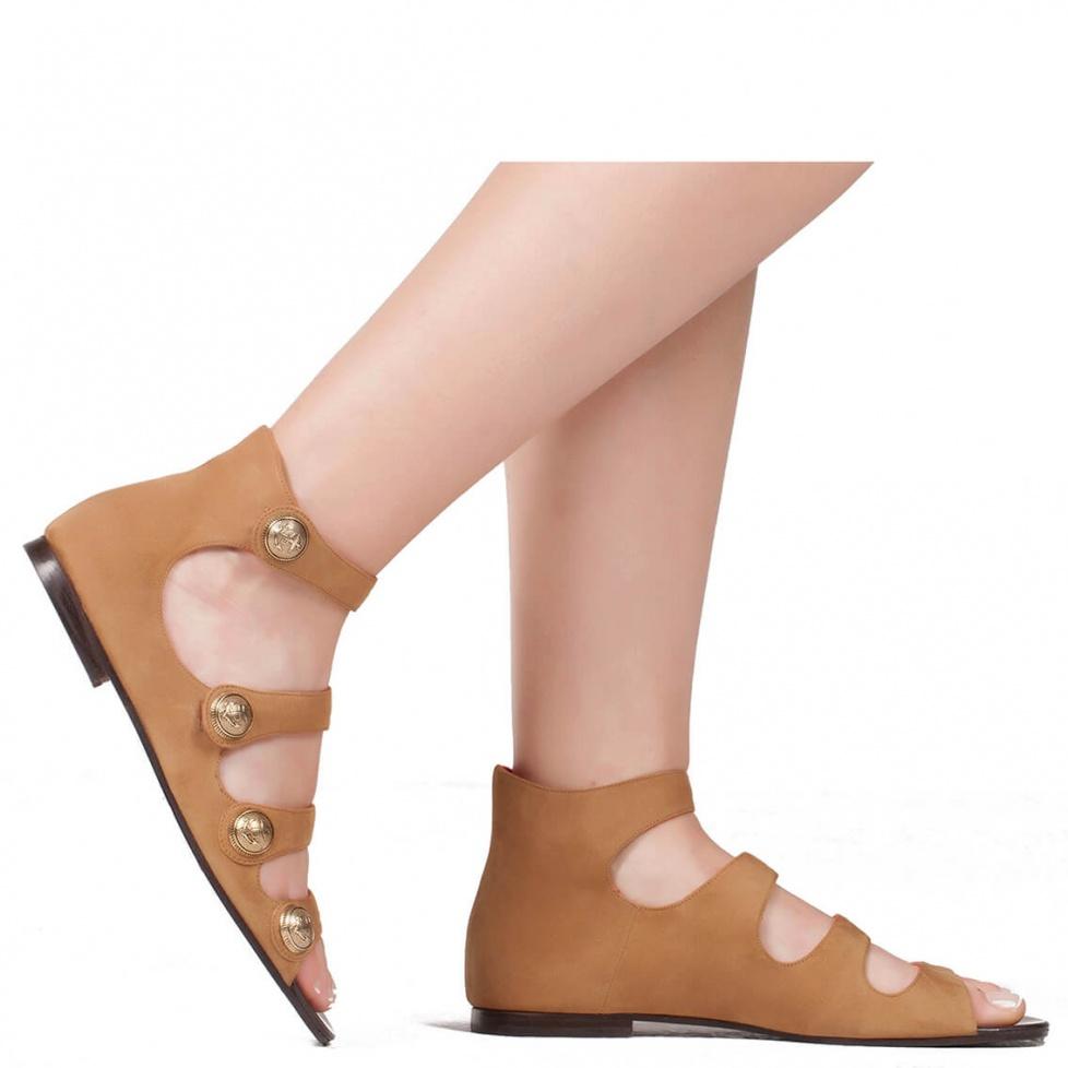Flat strappy sandal in suede - online shoe store Pura Lopez
