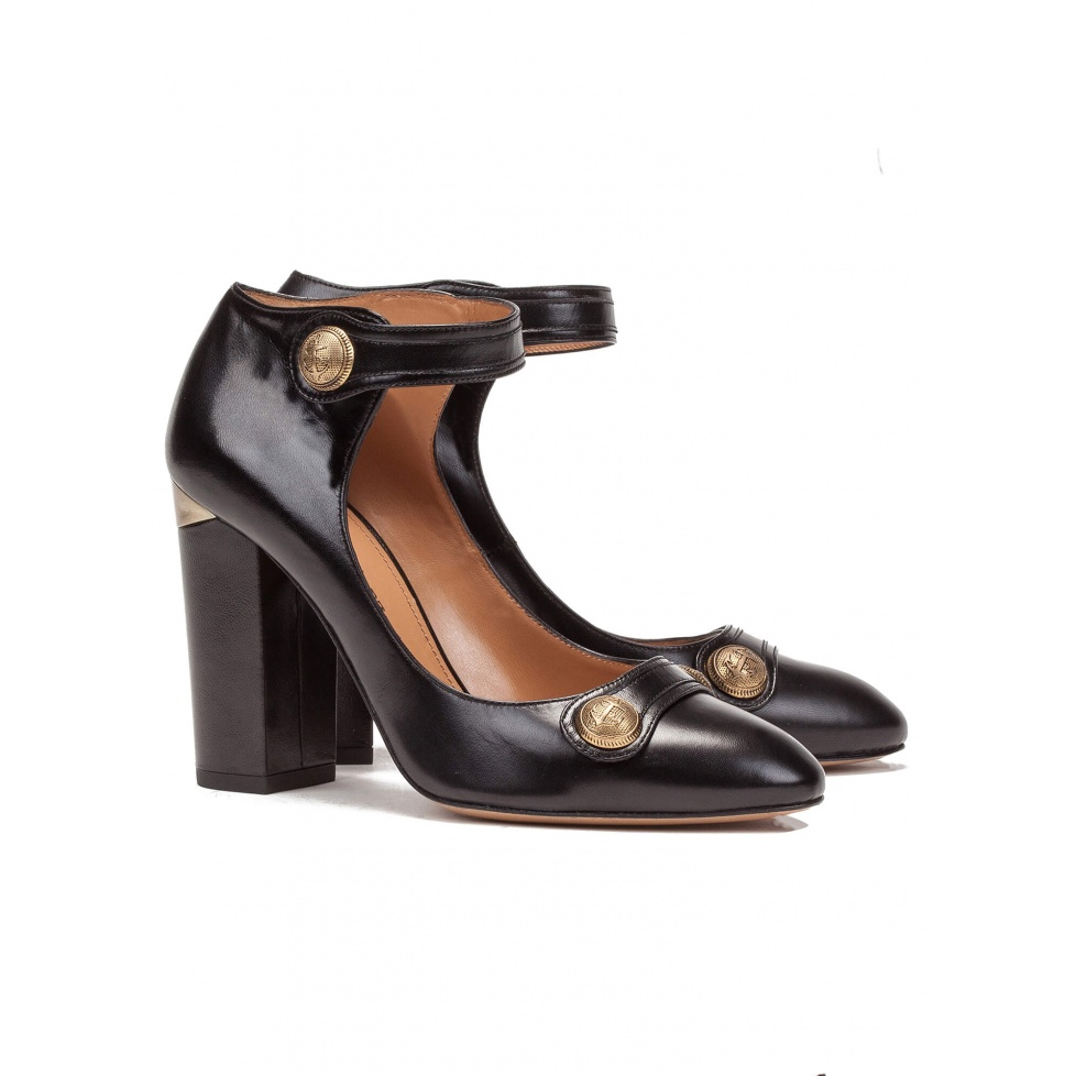 Black ankle strap high heel shoes - online shoe store Pura Lopez