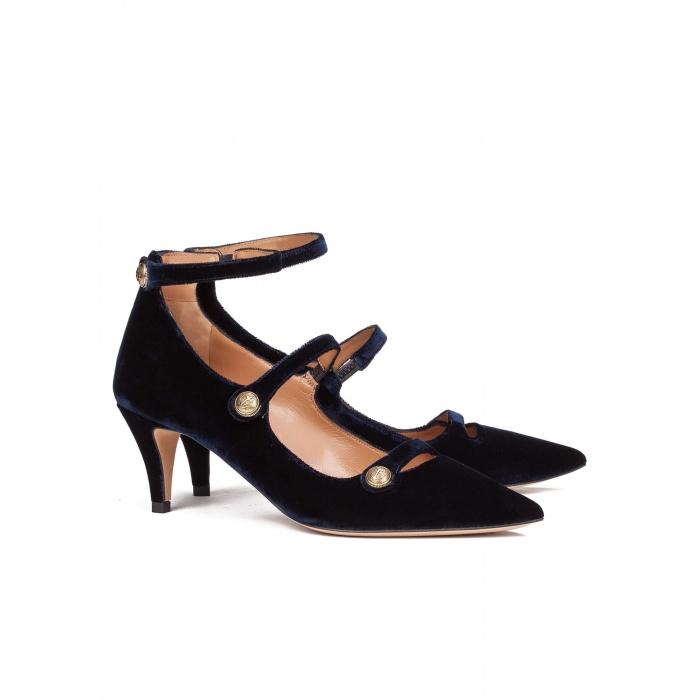 Blue velvet mid heel shoes - online shoe store Pura Lopez