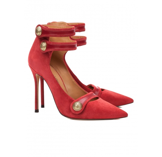 Zapatos de tacón alto en ante cereza con botones Pura L�pez