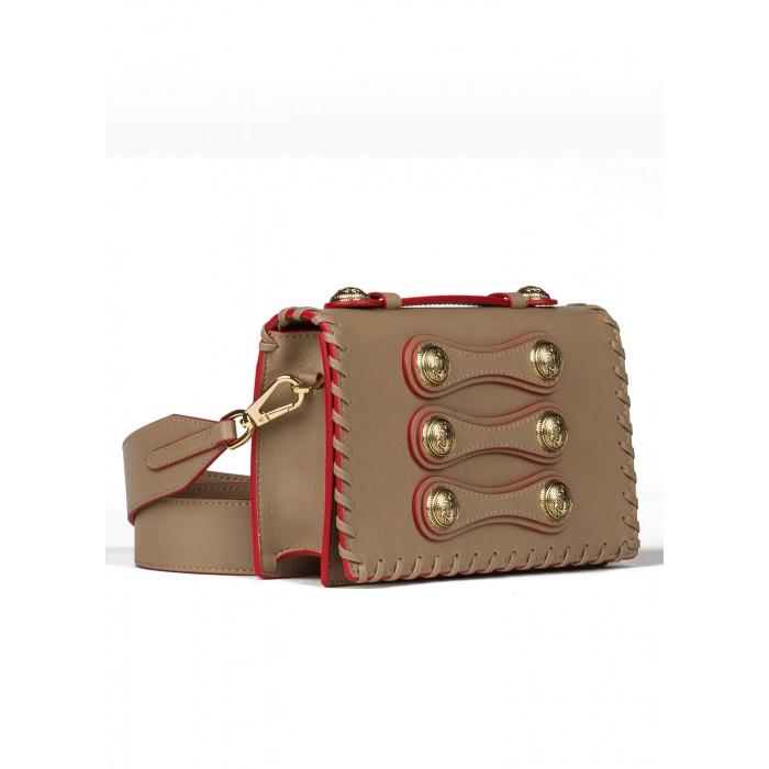 Bolso de mano botones en topo - tienda oficial Pura López