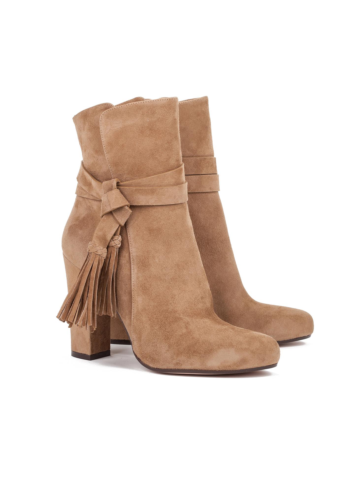 High heel boots in camel suede - online shoe store Pura Lopez