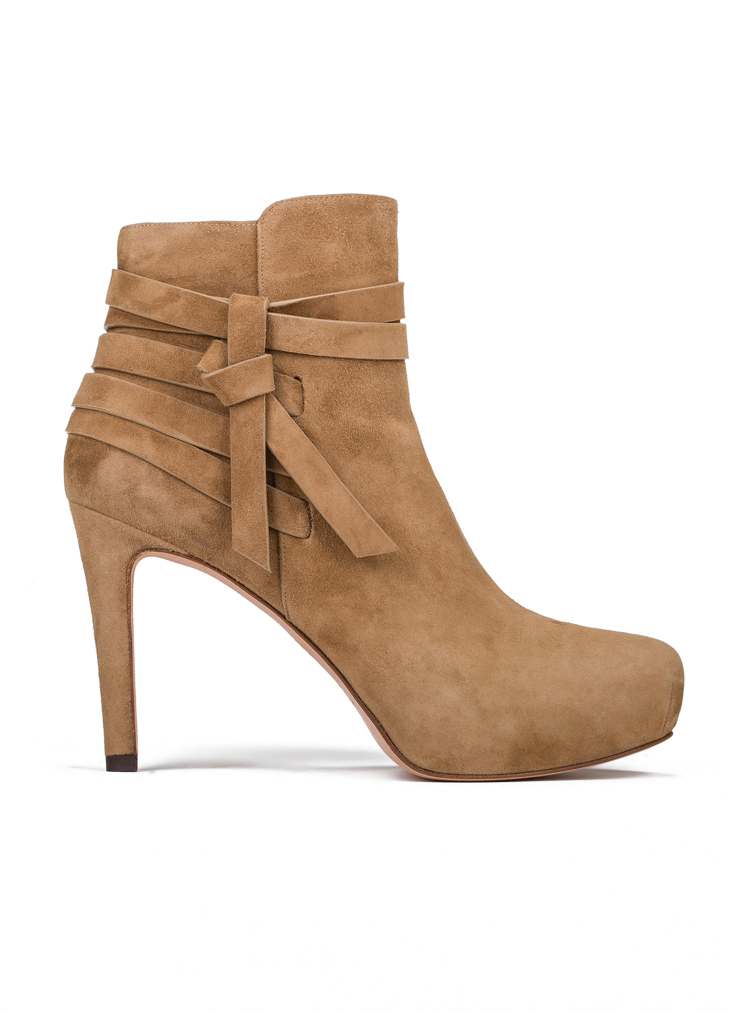 mid heel ankle boots in camel suede shoe store