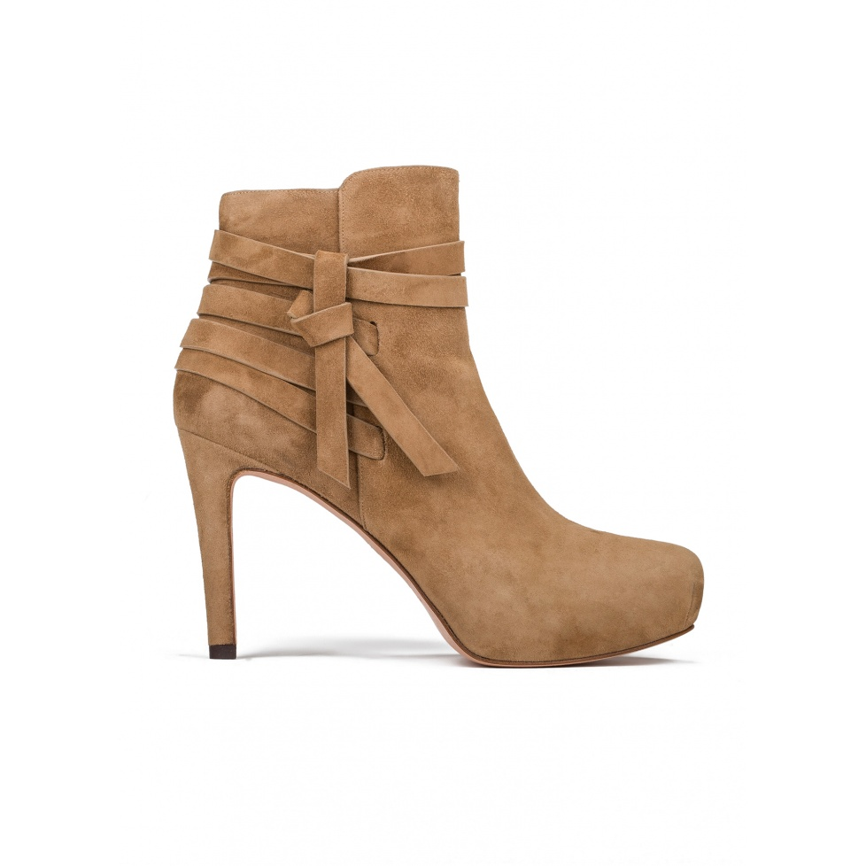 Mid heel ankle boots in camel suede