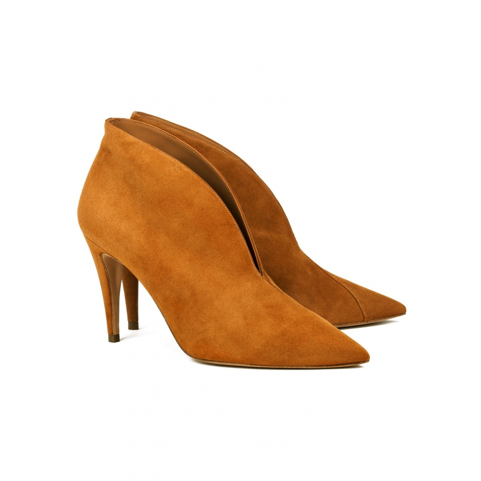 Chestnut high heel ankle boots - online shoe store Pura Lopez