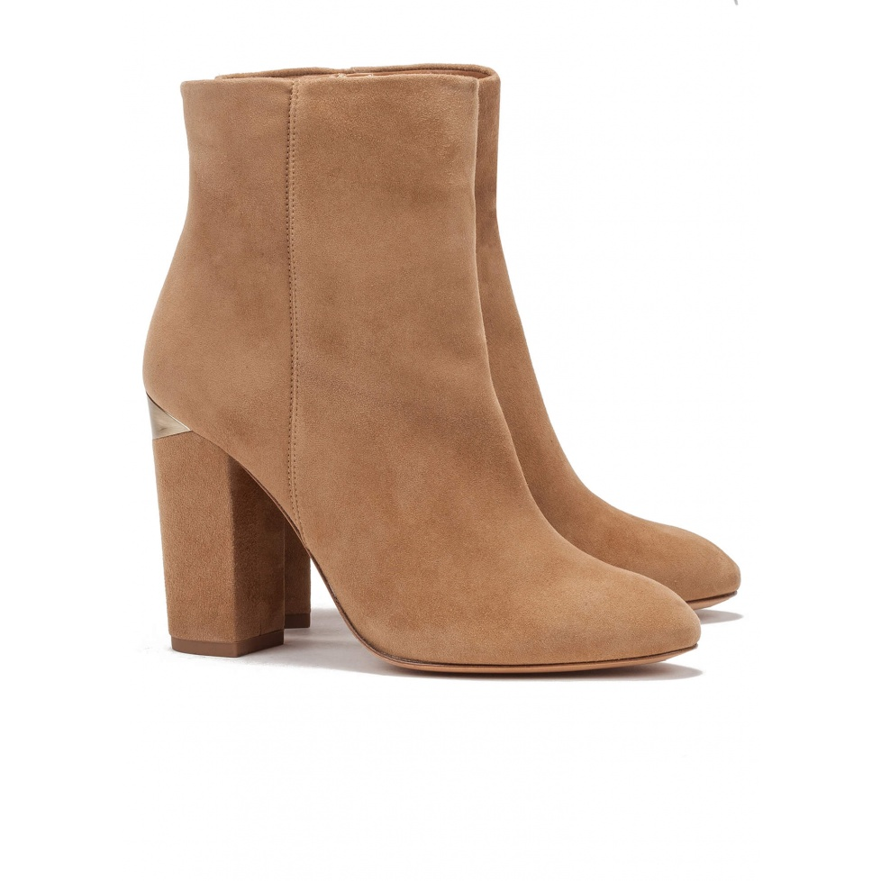 Camel high block heel ankle boots - online shoe store Pura Lopez