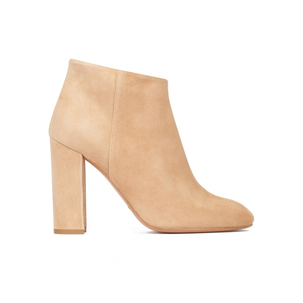 Camel suede high block heel ankle boots