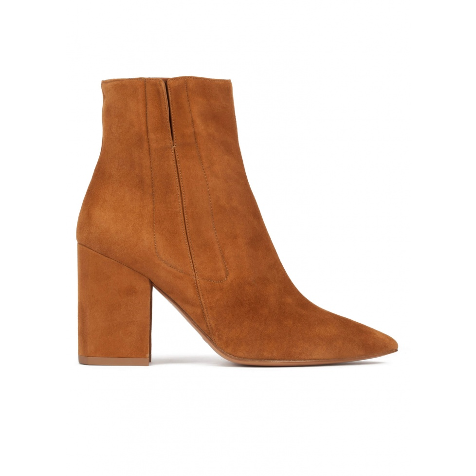 Camel suede high block heel point-toe ankle boots
