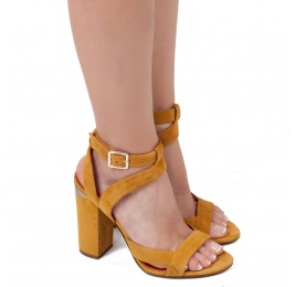 Strappy high block heel sandals in tobacco suede Pura López
