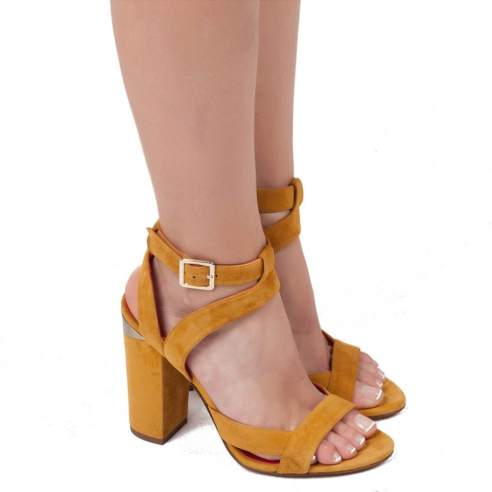 Ankle strap sandals in tobacco suede - shoe store Pura López