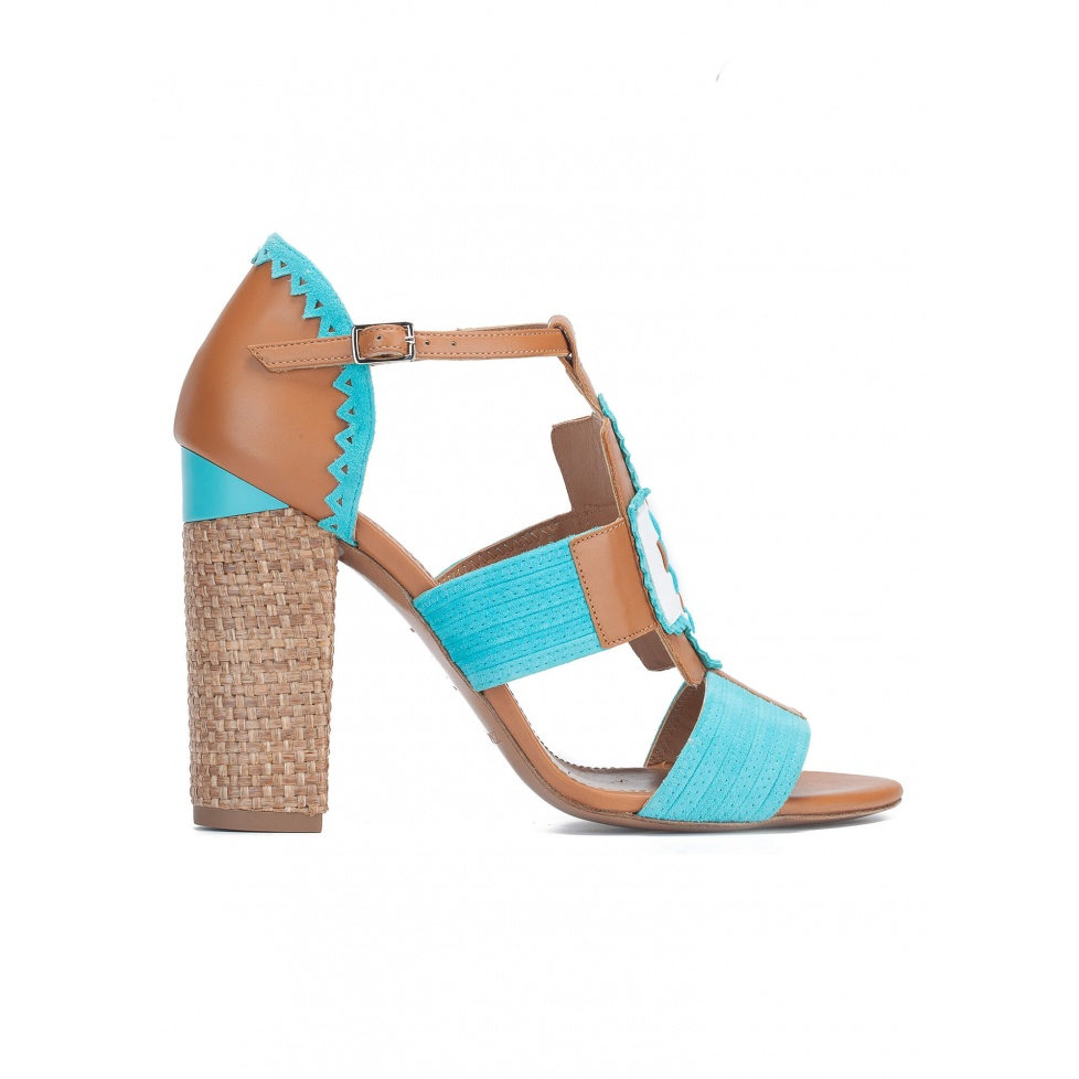 High block heel sandals in camel leather and turquoise suede