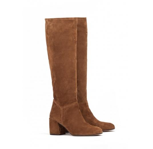 High heel boots in brown suede Pura L�pez