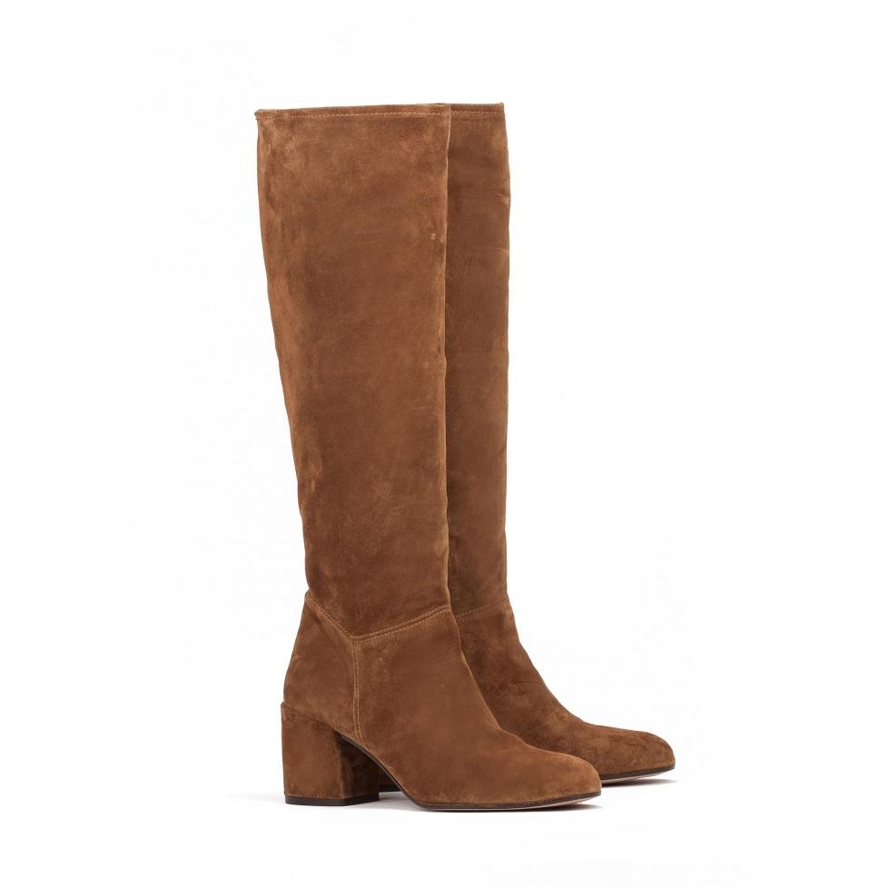 High heel boots in brown suede - online shoe store Pura Lopez